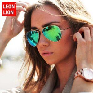 LeonLion 2020 Pilota Occhiali Da Sole A Specchio Delle Donne/Uomini Del Progettista di Marca Occhiali Da Sole di Lusso Dell'annata Delle Donne All'aperto di Guida Oculos De Sol
