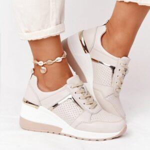 2021 Sneakers da donna scarpe sportive con zeppa allacciate scarpe vulcanizzate da donna piattaforma Casual Sneakers da donna comode femmine piatte