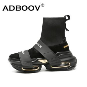 ADBOOV 202 New Fashion High Top Sock Sneakers donna suola spessa piattaforma scarpe Casual donna vera pelle Slip On Sock Boots F