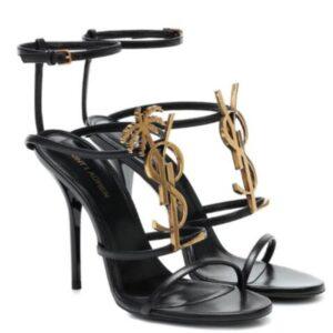 Sandali con tacco alto classici da casa di alta moda francese lettere in pelle scarpe da donna con tacco alto