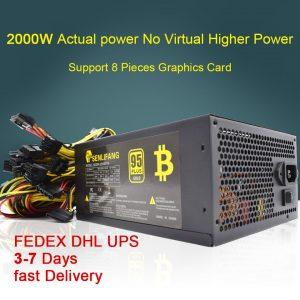 2000W 180-260V ATX Mining Bitcoin alimentatore 95% alta efficienza per Ethereum ETH S9 S7 L3 8GPU supporto schede Max