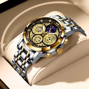 LIGE 2021 New Fashion Men Watch calendario acciaio inossidabile Top Brand lusso sport cronografo orologio al quarzo Relogio Masculino Box