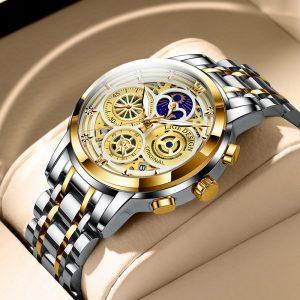 LIGE 2021 orologi da uomo orologio al quarzo in acciaio inossidabile orologio da uomo di lusso con fasi lunari orologi da polso cronografo da uomo impermeabile Relogios