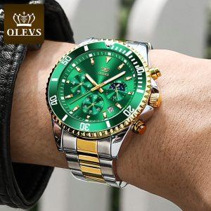 Marca svizzera Olevs orologio al quarzo fantasma verde impermeabile fase lunare cronografo sportivo impermeabile orologio da polso in acciaio inossidabile da uomo