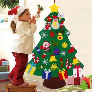 Albero di natale in feltro fai-da-te decorazioni di buon natale per la casa 2021 ornamento di natale regali di natale Navidad albero di babbo natale capodanno